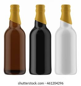 Set of colored beer bottles with yellow caps isolated on white background. 3D Mock up for your design.