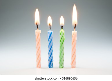 Set of colored birthday candles