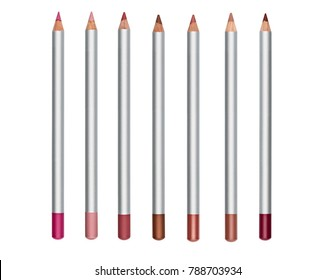 Set of colored cosmetic pencil for make-up isolated on white background