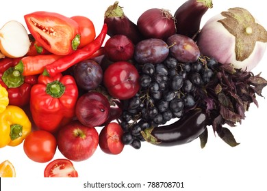 Set of colored fresh raw vegetables and fruits, isolated on white