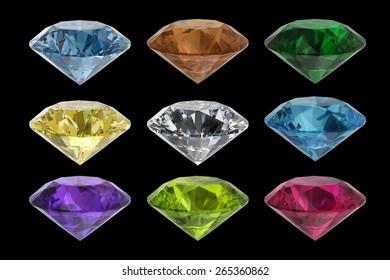 Set of colored gems on a black background 3D Rendering