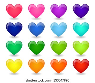 Set of colored icons of glossy hearts
