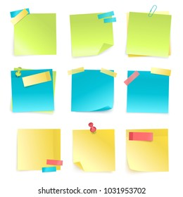 Set of colored isolated sticky notes with paper clip and adhesive tape isolated on white background realistic  illustration