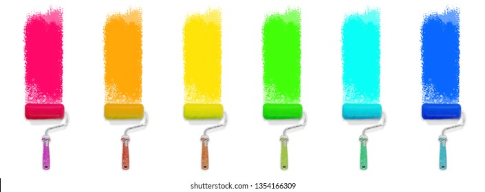 set of colored paint roller - colorful renovation concept