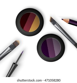 Set colored pallets with eye shadows, brushes for eye makeup and eyeliner. Triple eye shadows pallet. 3D illustration
