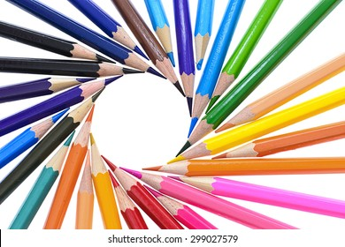 Set of Colored Pencil Isolated on White Background.
