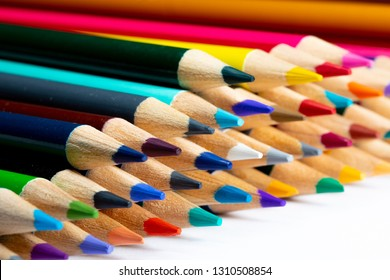 A set of colored pencils for drawing macro photography.