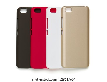 Set of colored plastic covers for smart phone, isolated on a white background
