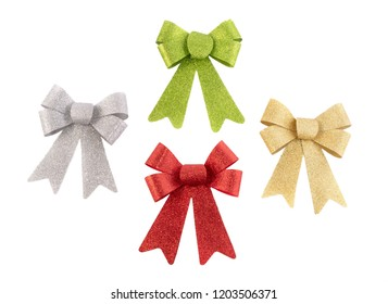 Set of colored shine ribbon bows isolated on white. Collection bowknot in red, green, gold, silver color.