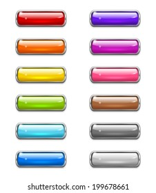 Set of colored shiny buttons in the shapes of rounded rectangle with metal border. Raster version