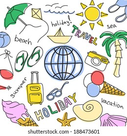 Set of colored sketches - summer vacation at sea. White background