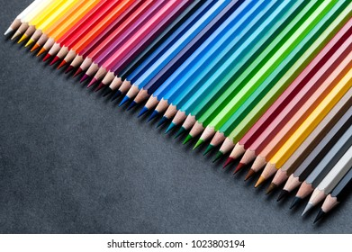 set of colored watercolor wooden pencils, professional palette