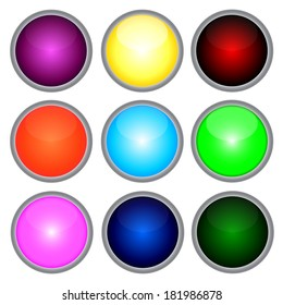 Set of colored web buttons.