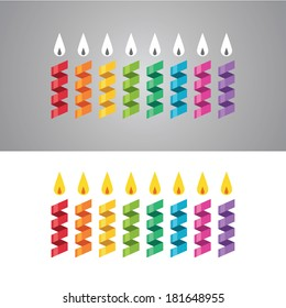 Set of colorful abstract paper candles