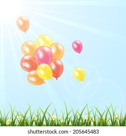 Set of colorful balloons fly in the sky over grass, illustration.
