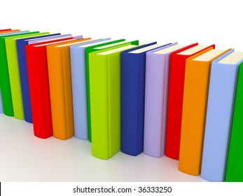 A set of colorful books stacked