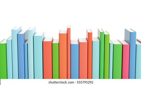 Set of colorful books standing in a row on white isolated background, 3d render.