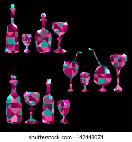 Set of colorful  bottles, stemware, decanters and wine glass - raster version