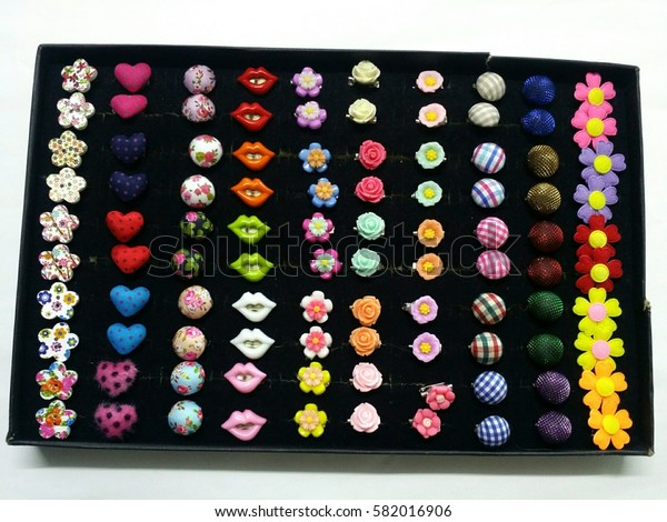 Set of colorful brooch