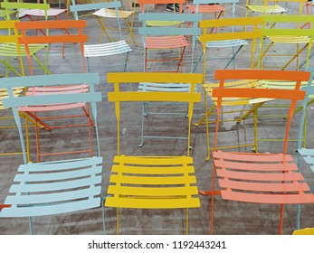 Set of colorful chairs in the meeting area