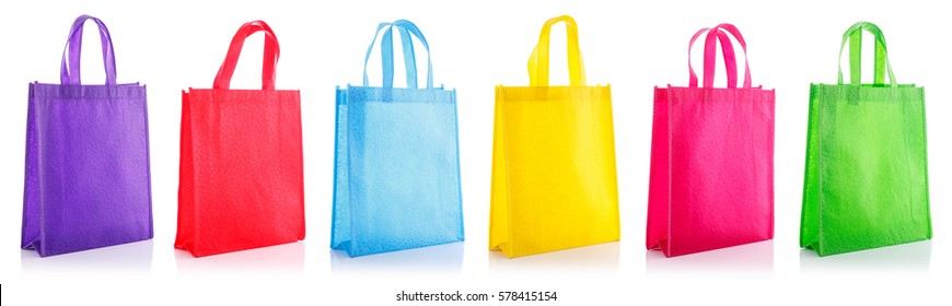 Set colorful cotton bag. Studio shot isolated on white background