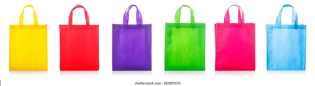 Set colorful cotton bag. Studio shot isolated on white background.