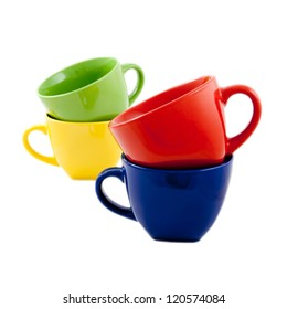 Set of colorful cups isolated on white background