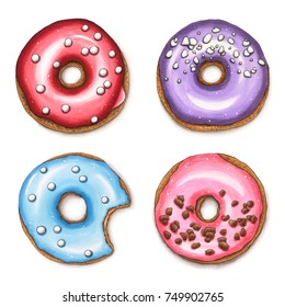 Set of colorful donuts isolated on white background. Hand drawn marker illustration.