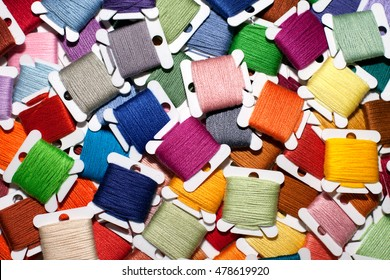 Set of colorful embroidery threads