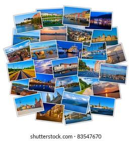 Set of colorful European travel photos isolated on white background