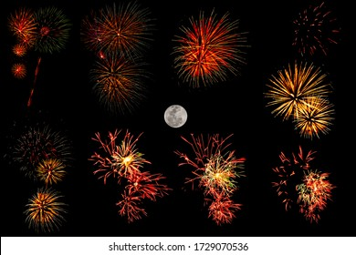 Set of colorful fireworks and full moom isolated on black background