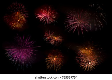 Set of colorful fireworks isolated on the black background, Colorful fireworks collection