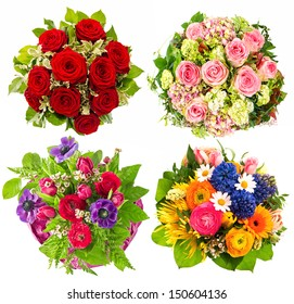Set of colorful flowers bouquet isolated on white background. Festive arrangement for Birthday, Wedding, Mothers Day, Easter, Holidays and Life Events