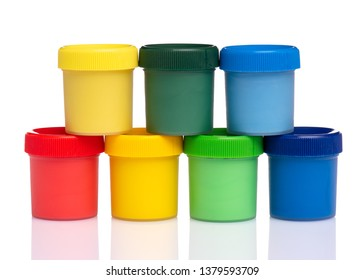 Set of Colorful Gouache jars isolated on white background with copy space. Cans of different colors gouache paints.
