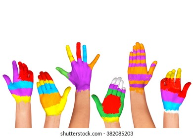 Set of colorful hands