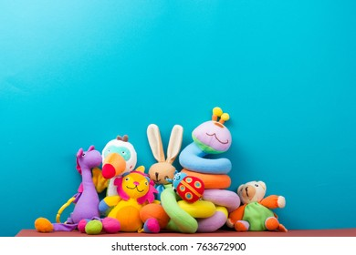 Set of colorful Kids toys frame. Copy space for text