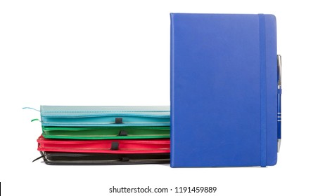 Set of Colorful Leather PU Diary Notebook with pen holder isolated on white background. In stationery, diary or appointment book is small  agenda containing a main diary section with space for each.