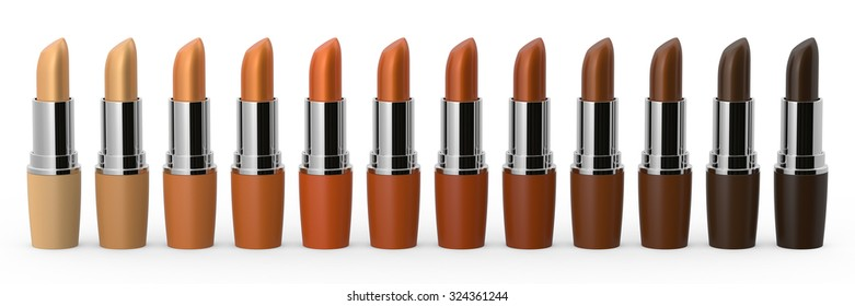 Set of colorful lipsticks isolated on white background