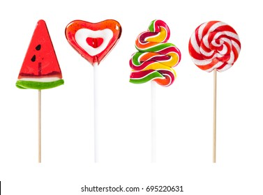 Set of colorful lollipops isolated on white background.