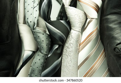set of colorful men's ties isolated on white background