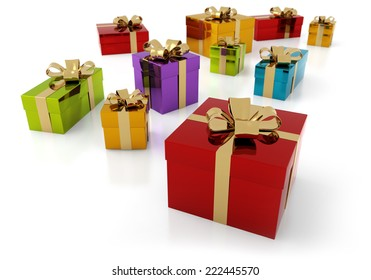 set of colorful parcels with golden ribbon