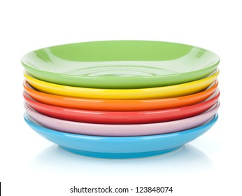 Set of colorful saucers. Isolated on white background