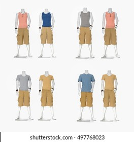 Set of Colorful Shirt clothes with short on male mannequin collection