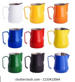 Set of colorful  Stainless Steel Milk Pitchers/Jugs. Foaming Jug. Latte art for barista. Coffee Accessories. Barista Kit. Isolated on white background.