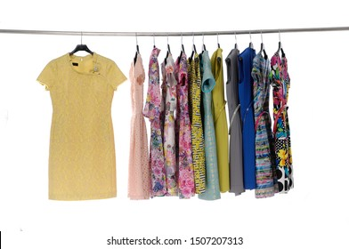 Set of colorful sundresses on hanging