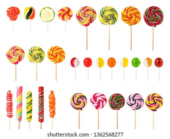 Set of colorful tasty candies on white background