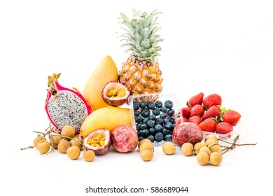 A set of colorful and tasty fruits on the table