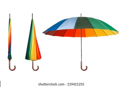 Set of colorful umbrellas isolated on white background. Opened and folded umbrellas isolated on white