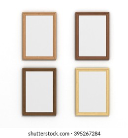 set of colorful vertical wooden frames of different sizes on a white background
