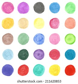 Set of colorful watercolor hand painted circle isolated on white. Illustration for your artistic design. Round stains, blobs of red, green, yellow, pink.